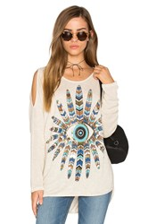 Lauren Moshi Reign Open Shoulder Sweater Beige