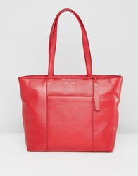 Paul Costelloe Real Leather Clean Tote Bag Red