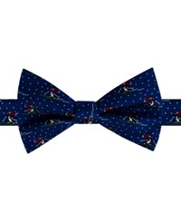 Tommy Hilfiger Men's Skiing Penguin Print Pre Tied Bow Tie Navy
