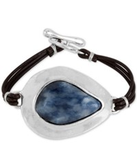Robert Lee Morris Soho Silver Tone Blue Stone Black Leather Toggle Bracelet
