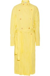 Loewe Crinkled Cotton Blend Poplin Trench Coat Pastel Yellow