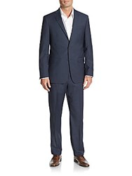 Michael Kors Regular Fit Plaid Wool Suit Navy