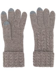N.Peal Cable Knit Gloves Brown