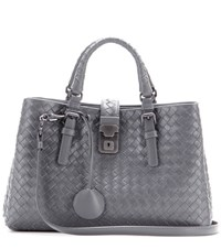 Bottega Veneta Mini Roma Intrecciato Leather Tote Grey