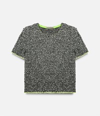 Christopher Kane Tweed Short Sleeve Sweater Black