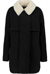 Opening Ceremony Morgane Faux Fur Trimmed Felt Coat Black
