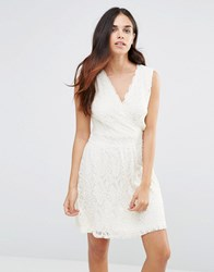 Pussycat London Lace Dress With Wrap Front Cream