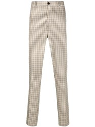 Kenzo Checkered Print Tailored Trousers Nude And Neutrals