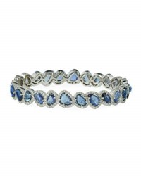 Diana M. Jewels 18K White Gold Rose Cut Sapphire And Diamond Bangle Bracelet 3.0Tcw