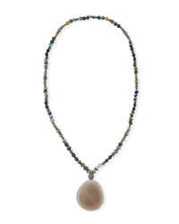 Hipchik Indie Beaded Labradorite Pyrite And Pearl Necklace
