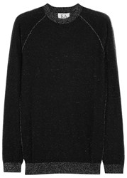 Zoe Karssen Black Metallic Fine Knit Jumper Silver