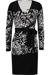 Diane Von Furstenberg Leandra Jacquard Knit Merino Wool Wrap Mini Dress Black