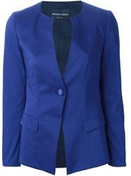 Emporio Armani Collarless Fitted Blazer Blue
