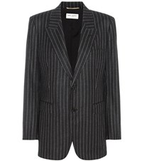 Saint Laurent Striped Wool Blazer Grey