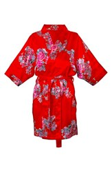 Women's Cathy's Concepts Floral Satin Robe Red Plain