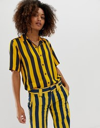 Dickies Button Up Shirt In Bold Stripe Co Yellow