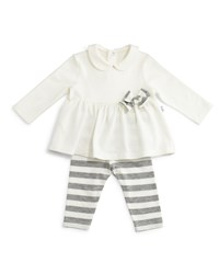 Il Gufo Long Sleeve Knit Top And Striped Leggings White Gray