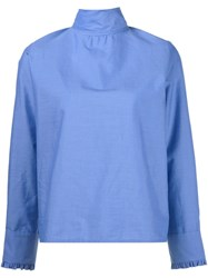 Atlantique Ascoli Roll Neck Blouse Blue