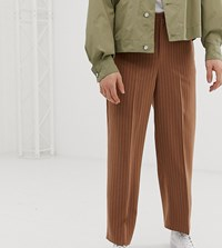 Noak Wide Leg Pleated Smart Trousers In Pinstripe Brown