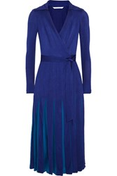 Diane Von Furstenberg Stevie Pleated Satin Jersey And Georgette Wrap Dress Royal Blue