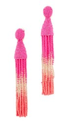 Oscar De La Renta Classic Short Tassel Clip On Earrings Tourmaline