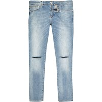 River Island Mensblue Danny Ripped Knee Super Skinny Jeans