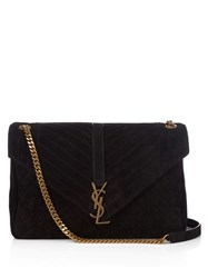 Saint Laurent College Large Quilted Suede Shoulder Bag Black