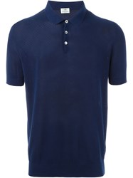 Borrelli Cuffed Sleeve Polo Shirt Blue