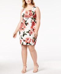 Love Squared Trendy Plus Size Printed Sweetheart Dress Ivory