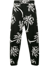 Dolce And Gabbana Palm Tree Print Cropped Trousers Men Cotton Spandex Elastane 46 Black