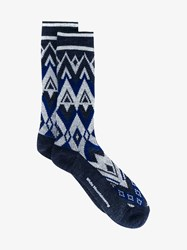 White Mountaineering Wool Blend Knitted Zig Zag Socks Navy White Black Salmon Denim