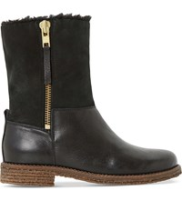 Dune Russell Faux Fur Lined Leather Boots Black Leather