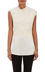 3.1 Phillip Lim Women's Destroyed Lace Appliqued Shell White