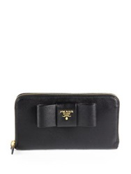 Prada Saffiano Bow Zip Around Wallet Nero Black