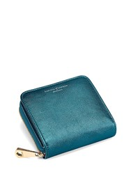 Aspinal Of London Mini Continental Zipped Coin Purse In Peacock Metallic Blue