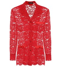 Dolce And Gabbana Lace Jacket Red
