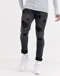 Liquor N Poker Skinny Fit Jeans With Rips In Dark Grey Wash Blue