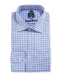 English Laundry Square Print Cotton Dress Shirt Navy