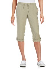 Lord And Taylor Petite Linen Rolled Cuff Capris Safari