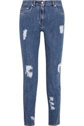Moschino Distressed Mid Rise Slim Leg Jeans Mid Denim