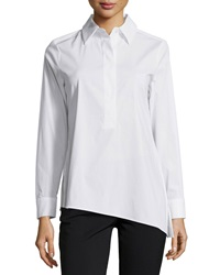 Paperwhite Asymmetric Hem Half Button Blouse