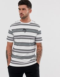 River Island T Shirt With Pastel Stripe White