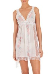 Jonquil Petal Floral Print Chiffon And Lace Chemise Ivory Rose Print