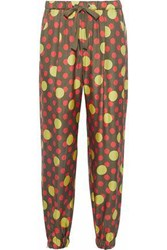 Red Valentino Polka Dot Silk Twill Track Pants Army Green