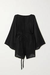 Caravana Net Sustain Nikab Suede Trimmed Fringed Cotton Gauze Jumpsuit Black