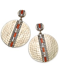 Thalia Sodi Gold Tone Beaded Hammered Disc Drop Earrings Only At Macy's
