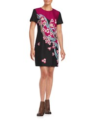 Trina Turk Natasha Short Sleeve Shift Dress Pink Black