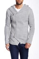 Ron Tomson Hooded Zip Knit Cardigan Gray