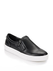 Steve Madden Double Zippered Leather Sneakers Black