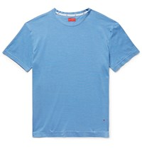 Isaia Slub Silk And Cotton Blend Jersey T Shirt Blue